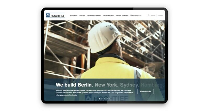 Projekt: Eine multimediale Corporate Website für HOCHTIEF
